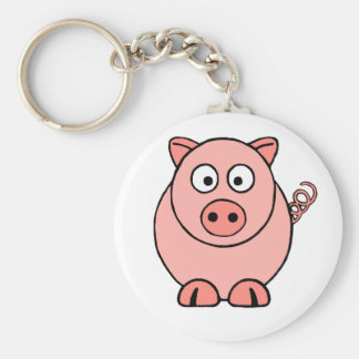 Pink Pig Basic Round Button Key Ring