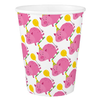 Pink Pig Birthday Paper Cup