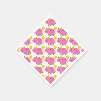Pink Pig Birthday Paper Napkin