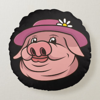 Pink Pig Black Pillow