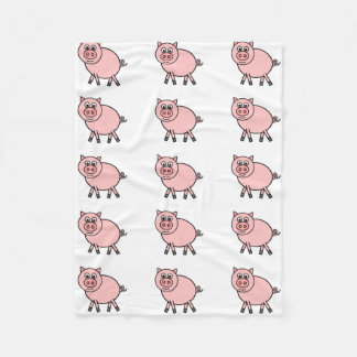 Pink Pig Cartoon Fleece Blanket