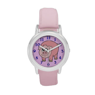 Pink Pig Cartoon Wristwatches