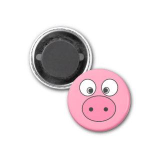 Pink Pig Face 3 Cm Round Magnet
