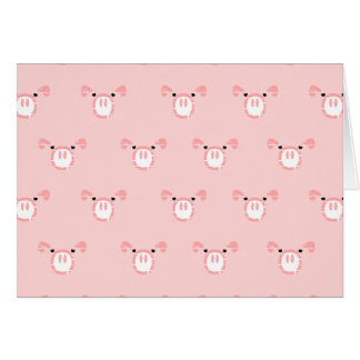 Pink Pig Face Repeating Pattern Greeting Card