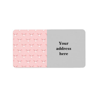 Pink Pig Face Repeating Pattern Address Label