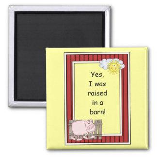 Pink Pig - Farmyard Barnyard Friend - Kids Square Magnet