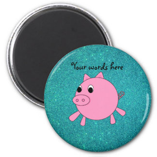 Pink pig faux turquoise glitter 6 cm round magnet