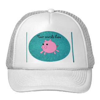 Pink pig faux turquoise glitter trucker hat
