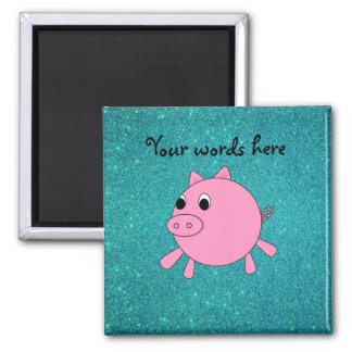 Pink pig faux turquoise glitter refrigerator magnet
