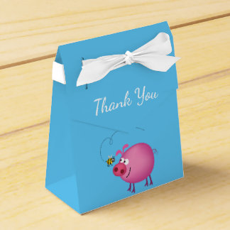 Pink Pig & Friendly Bee Tent Favor Box Favour Box