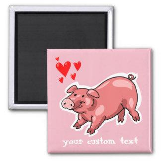pink pig funny cartoon customizable text magnet