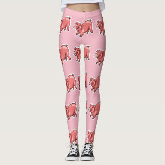 pink pig funny cartoon leggings