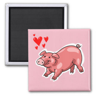 pink pig funny cartoon square magnet