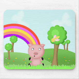 Pink Pig in Colourful Fields Mousepad