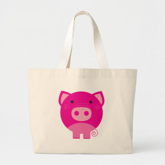 Pink Pig Large Tote Bag
