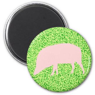 Pink Pig Magnet 6 Cm Round Magnet