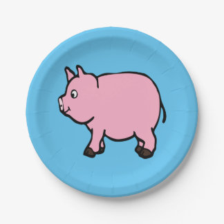 Pink Pig  Paper Plates 7""