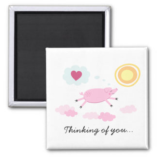 Pink pig running on clouds square magnet