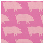 Pink Pig Silhouettes Pattern Fabric
