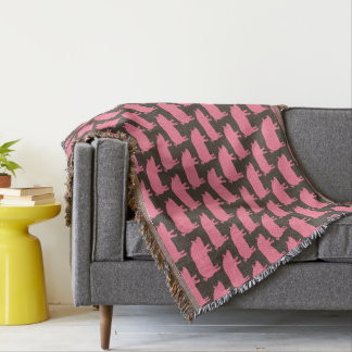 Pink Pig Silhouettes Pattern Throw Blanket