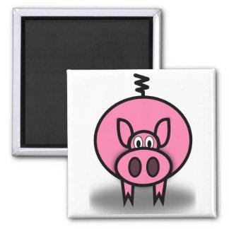 Pink Pig Square Magnet