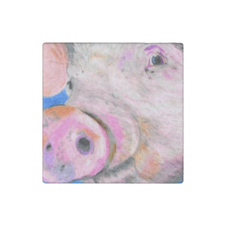 Pink Pig Stone Magnet