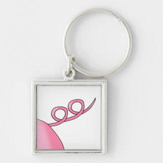 Pink Pig Tail Key Ring
