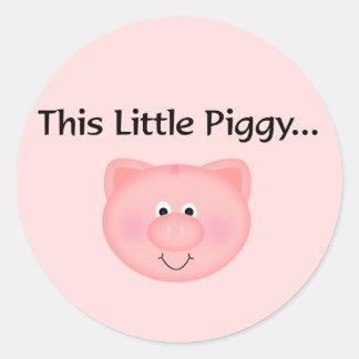 Pink Pig This Little Piggy Classic Round Sticker
