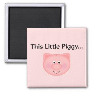 Pink Pig This Little Piggy Refrigerator Magnet
