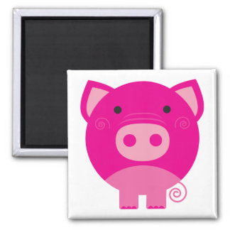Pink Pig Tshirts and Gifts Square Magnet