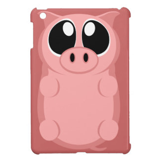 Pink Pig with Big Eyes iPad Mini Cases