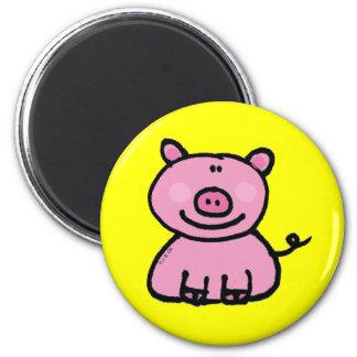 Pink piggy 6 cm round magnet