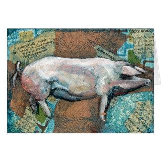 """""""Pink Piggy"""", a piggy greeting card"""