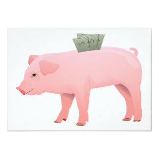 Pink Piggy Bank Invitations