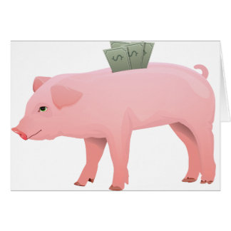 Pink Piggy Bank Note Cards