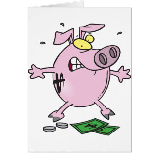 Pink Piggy Bank With Money Greeting Cards