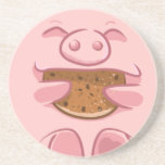 pink piggy eating cookie coaster