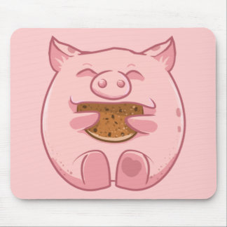 pink piggy eating cookie mousepad