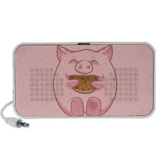 pink piggy eating cookie speaker