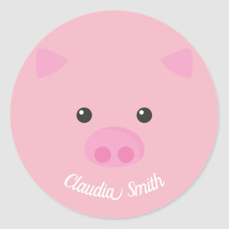 Pink Piggy Face Classic Round Sticker