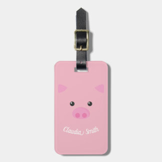Pink Piggy Face Luggage Tag
