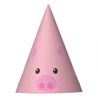 Pink Piggy Face Party Hat