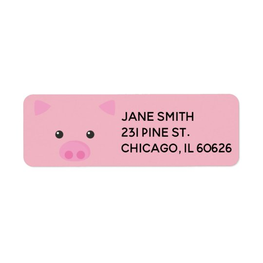 Pink Piggy Face Return Address Label