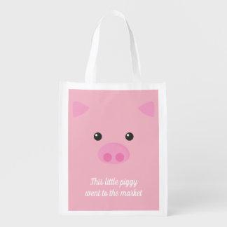 Pink Piggy Face Reusable Grocery Bag