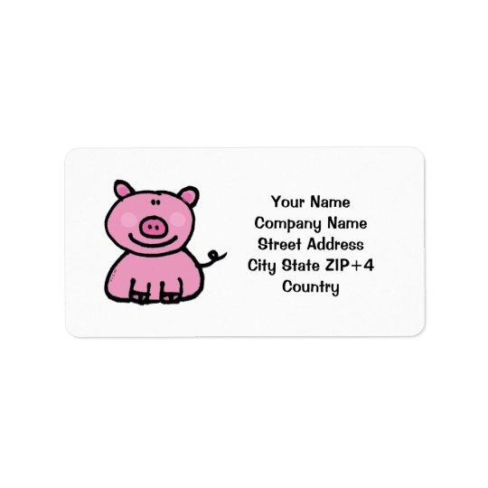 Pink piggy return address address label
