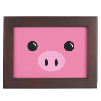 Pink Piglet Cute Animal Face Design Keepsake Box