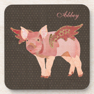 Pink Pigs Fly Polkadot Personalized Coaster