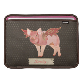 Pink Pigs Fly Polkadot Personalized Macbook Sleeve