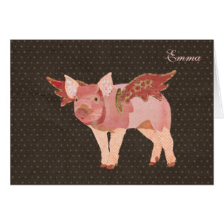 Pink Pigs Fly Polkadot Personalized Notecard Greeting Card