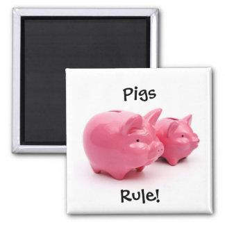 Pink Pigs Rule Fridge Magnet